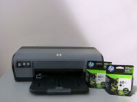 HP inkjet printer with black and color ink cartridges