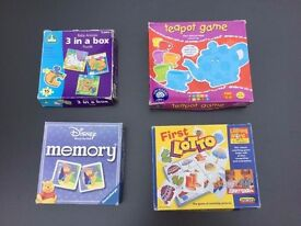 Bundle of 4 First / Early Years Games incl Teapot Game, First Lotto, First Puzzles and Disney Memory