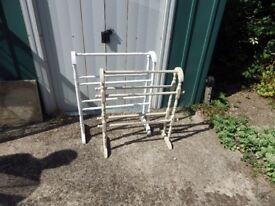 2 Victorian distressed chalk painted solid pine towel stands