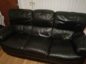2 seater and 3 seater black leather sofa