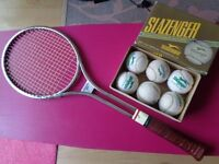 Vintage original 70's tennis raquet and slazenger balls