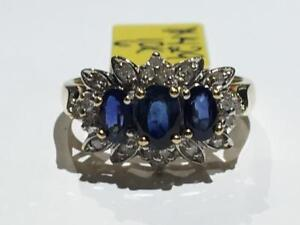 #1429 10K YELLOW & WHITE GOLD DIAMOND & SAPPHIRES RING *SIZE 6* JUST BACK FROM APPRAISAL AT $1650.00!