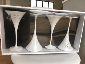Brand New White Martini Glasses