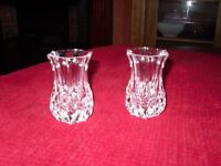 2 Small Crystal Vases 3 inches in height