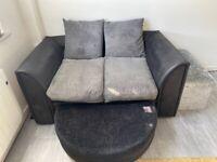 Grey / Black sofa settee & footstool