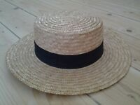 Hat - Straw Boater Hat - worn only once for fancy dress party
