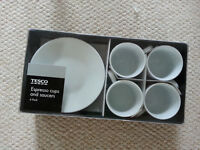 Tesco Espresso Cups & Saucers (4 Packs)