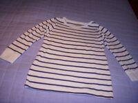 Girls Long sleeve top Navy & white stripe NEXT Age 7
