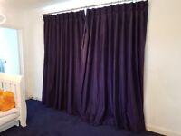 Navy Blue Raw Silk Goblet Curtains