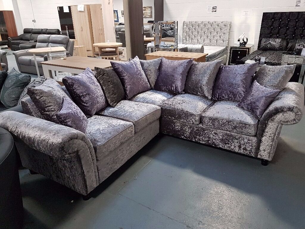 Brand New Crush Velvet Corner Sofa With Lilac Cushions On Sale Free Delivery Up