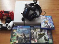 PS4, 2x Controllers, Wireless Headphones & Games