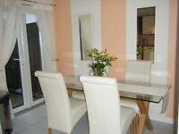 4 X CREAM LEATHER DINING CHAIRS
