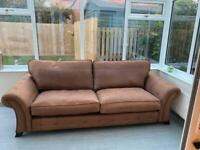 New DFS brown leather sofa