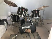 5 Piece Premier APK Drumkit, Sabian high hat, Paiste Cymbals, Stands, Double Bass Pedal