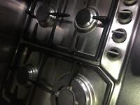 Stainless still gas hob black 4 burner