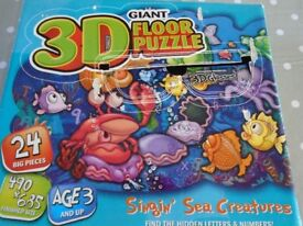 GIANT 3D 'Singing Sea Creatures' Floor Puzzle. All puzzle pieces included and in excellent condition