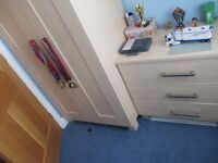 bedroom single wardrobe & matching chest of three drawers ( ash effect )