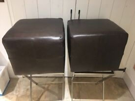 2 LEATHER FOOT STOOLS
