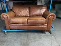 REAL TAN LEATHER 3 PIECE SOFA SET IN VERY EXCELLENT CONDITION REAL COMFY LEATHER