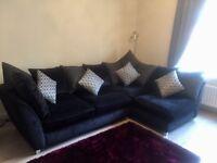 REDUCED FOR QUICK SALE - Black velour corner sofa