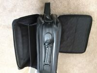Perfect Black Leather Laptop Bag, carry two laptops, lots of pockets and padded interior Bargain £10