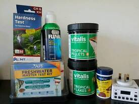 Tropical fish food and test kits