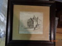 Antique 1840 PRINT in an Oak Frame of a 17th century BIRMINGHAM street scene