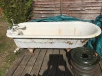 Vintage cast iron roll top bath good enamel original well,soap dishes and plugs waste pipe