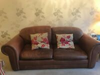 Brown Leather Laura Ashley Sofa