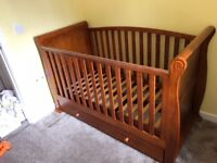 Babies R Us Walnut Sleigh Cot Bed and Changing Unit