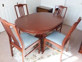 Stag Minstrel dining table and chairs plus matching wall unit