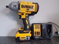 DeWALT DCF899 18V LI-ION XRP BRUSHLESS IMPACT WRENCH + 1x5ah BLUETOOTH battery + charger makita