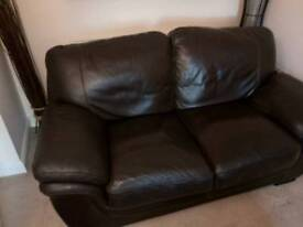 Good quality Dark brown leather Sofas, 3 seater and 2 seater,