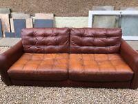* FREE 4 UPLIFT * Brown Leather 3 Seat Sofa