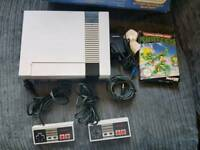Boxes Nintendo NES console and turtles game