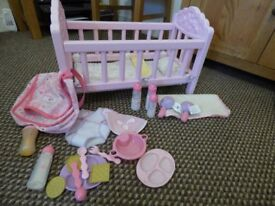 Dolls Pink Toy Cot with changing bag