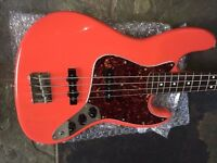 FENDER SQUIER JAZZ BASS FIESTA RED JET HARRIS STYLE