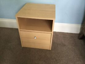One Beech Colour Bedside Cabinet / Bedside Table with Cupboard H17.5in/44cmW15.5in/39cmD16in/41cm