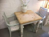 Pretty pine table & 2 chairs