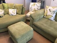 Sofa suit. 4 seater pillow back sofa, chair, cuddler and footstool