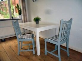 Two Refurbished Wooden Dining Chairs, Painted Light Grey