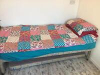 Single bed with mattress and with pull out bed (no mattress)