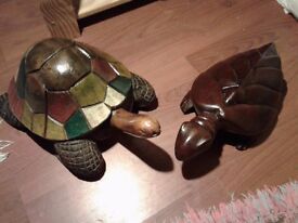 TORTOISE & TURTLE (CARVED WOOD) NEED A GOOD HOME £10 each, or £15 the pair. NO TEXTS PLEASE.