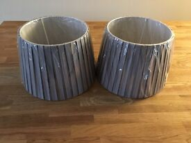 Two grey table lamp shades