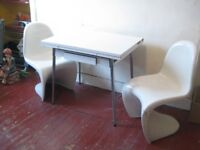 RETRO 60s CHROME AND FORMICA KITCHEN TABLE AND TWO PANTON STYLE FIBRE GLASS CHAIRS VINTAGE