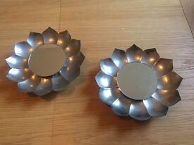 Metal flower shaped mirrors