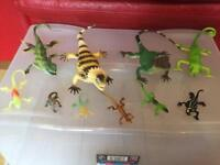 Toy animals - plastic lizards - 11 large, 6 very small