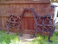 heavy iron bench ends
