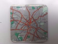1953 Vintage Map Coasters-Set of 4