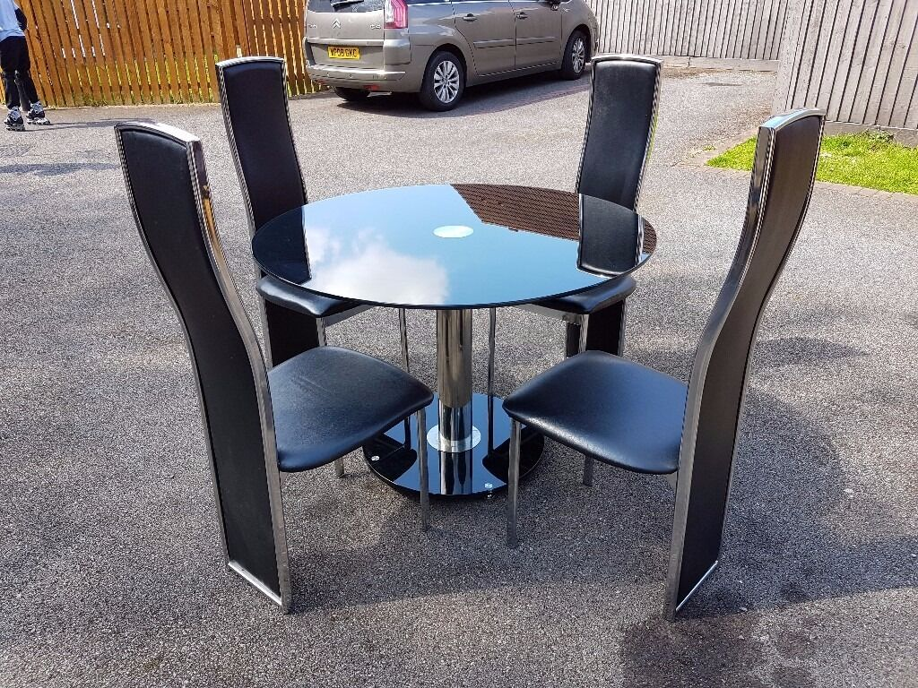 Round Black Glass Chrome Dining Table   4 Black Leather Chrome Chairs FREE  DELIVERYRound Black Glass Chrome Dining Table   4 Black Leather Chrome  . Old Dining Chairs Leicester. Home Design Ideas